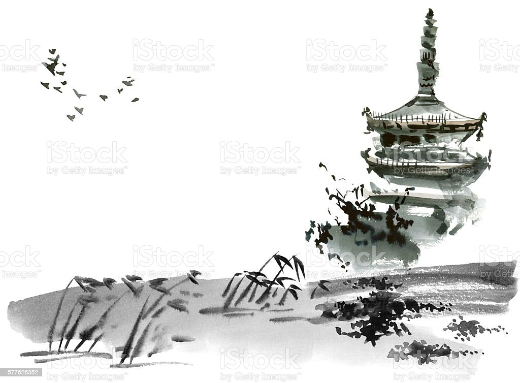 Chinese landscape with pagoda vector art illustration