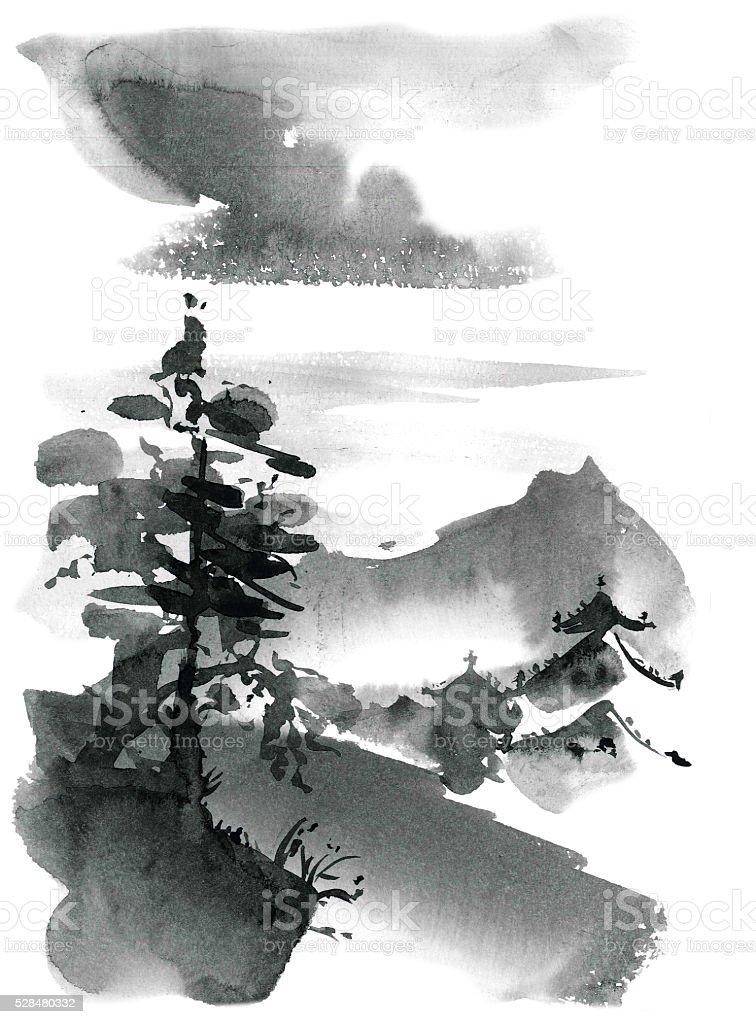 Paesaggio con alberi di pino cinese e pagoda - illustrazione arte vettoriale