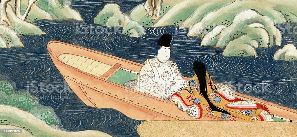 Chinese Lovers in a boat eloping vector art illustration