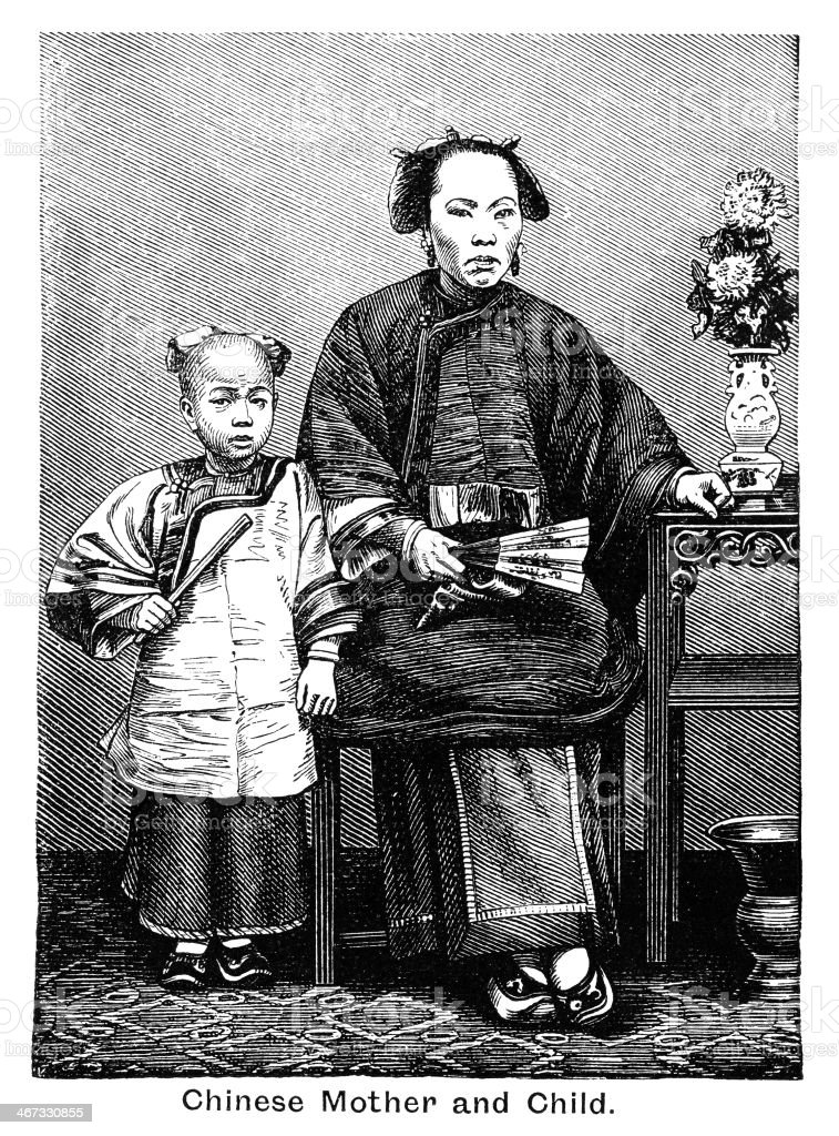 Chinese mother and child - Victorian engraving vector art illustration