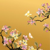 """""""Ancient chinese style floral painting, very classy. Can be apply on web page, print & all kind of design work, with layers fully editable. ZIP contain hires jpg, AI CS4."""""""