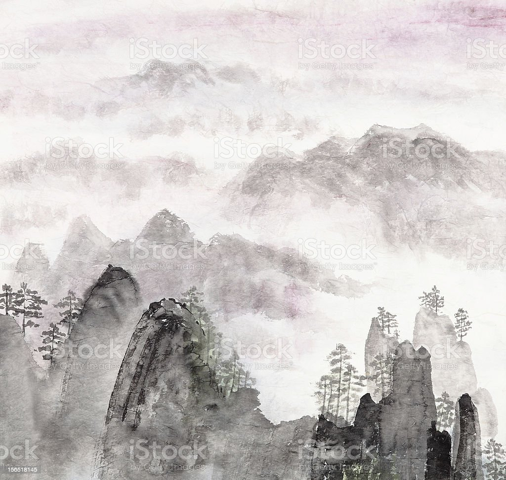 Chinese painting of high mountain landscape vector art illustration