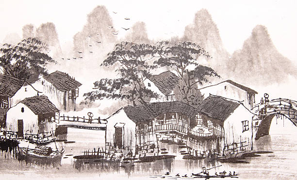 Chinese painting water town Chinese painting water town ancient stock illustrations
