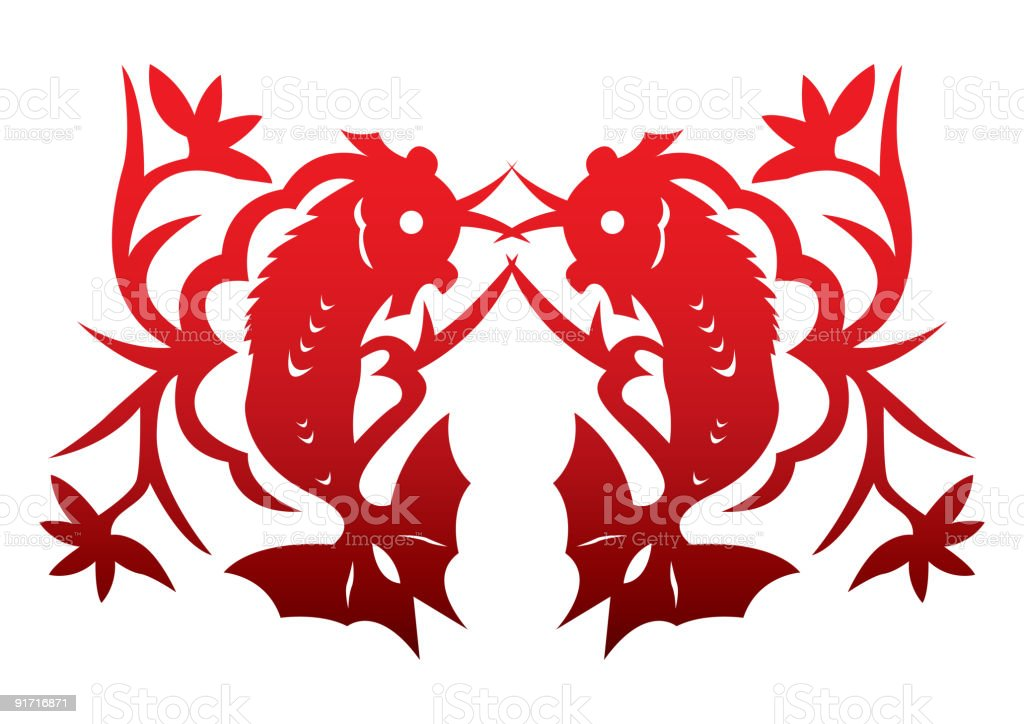 Chinese Paper Cut - Double Fish royalty-free stock vector art