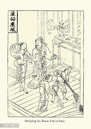 Chinese Pilgrim's Progress, Sweeping the Room full of dust, 19th Century