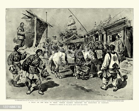Vintage illustration of Chinese soldiers checking foreigners passports on the road to Pekin (Beijing), 1895. 19th Century