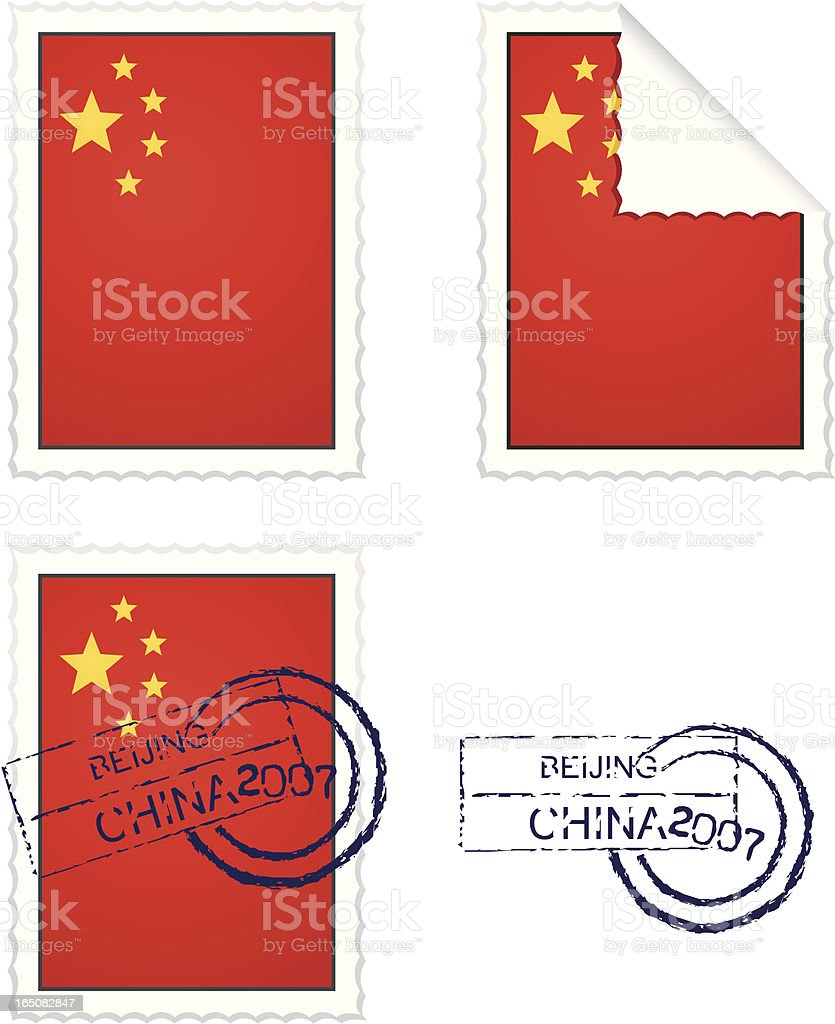 Chinese Stamp Set royalty-free stock vector art