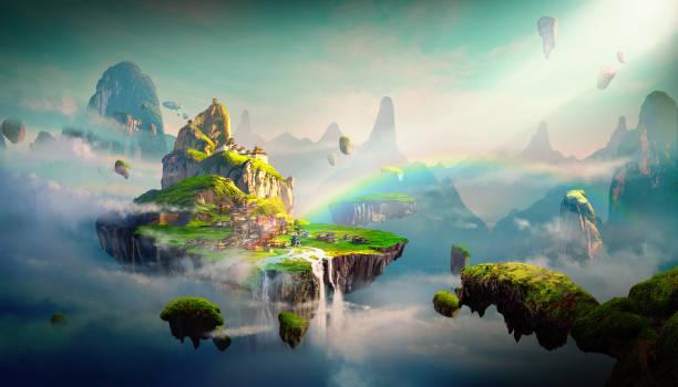 Chinese style fantasy scenes. Chinese style fantasy scenes. dreamlike stock illustrations