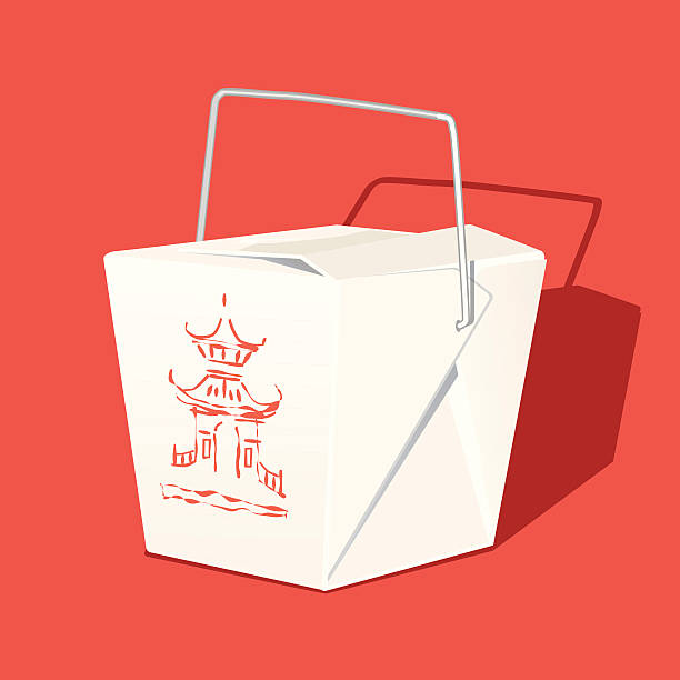 chinese takeout box - chinese food stock illustrations, clip art, cartoons, & icons
