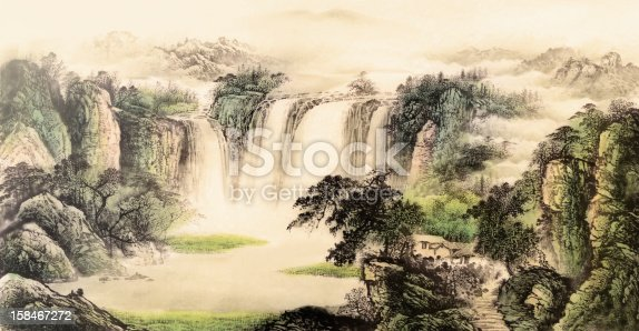 Chinese traditional painting of landscape with mountain and tree and river and waterfall on paper.