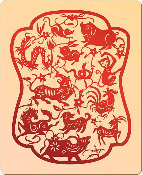 stockillustraties, clipart, cartoons en iconen met chinese traditional pattern - zoogdieren met klauwen