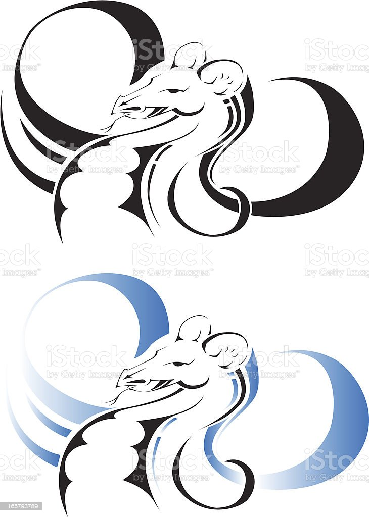 Chinese Water dragon vector art illustration