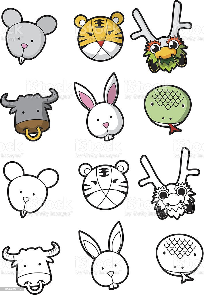 Chinese zodiac number 1 to 6 royalty-free stock vector art