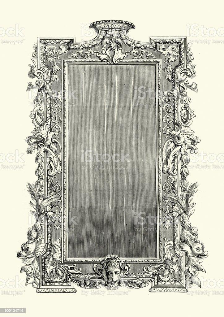 Chippendale frame 18th Century vector art illustration