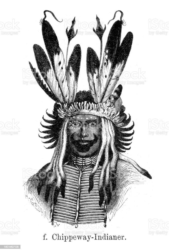 Chippeway Nativo americano ilustración de chippeway nativo americano y más banco de imágenes de accesorio de cabeza libre de derechos