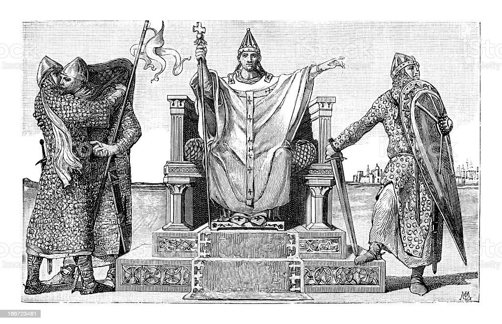 Chivalry And The Church - Antique Engraving royalty-free stock vector art