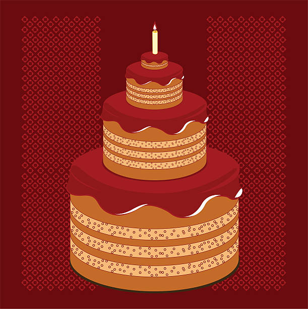 Terrific Chocolate Birthday Cake With A Tiny Candle Stock Illustration Birthday Cards Printable Opercafe Filternl