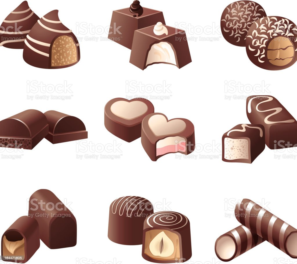 chocolate candies vector art illustration
