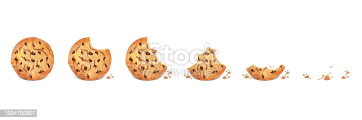 Chocolate chip cookie isolated icon set illustration on white background