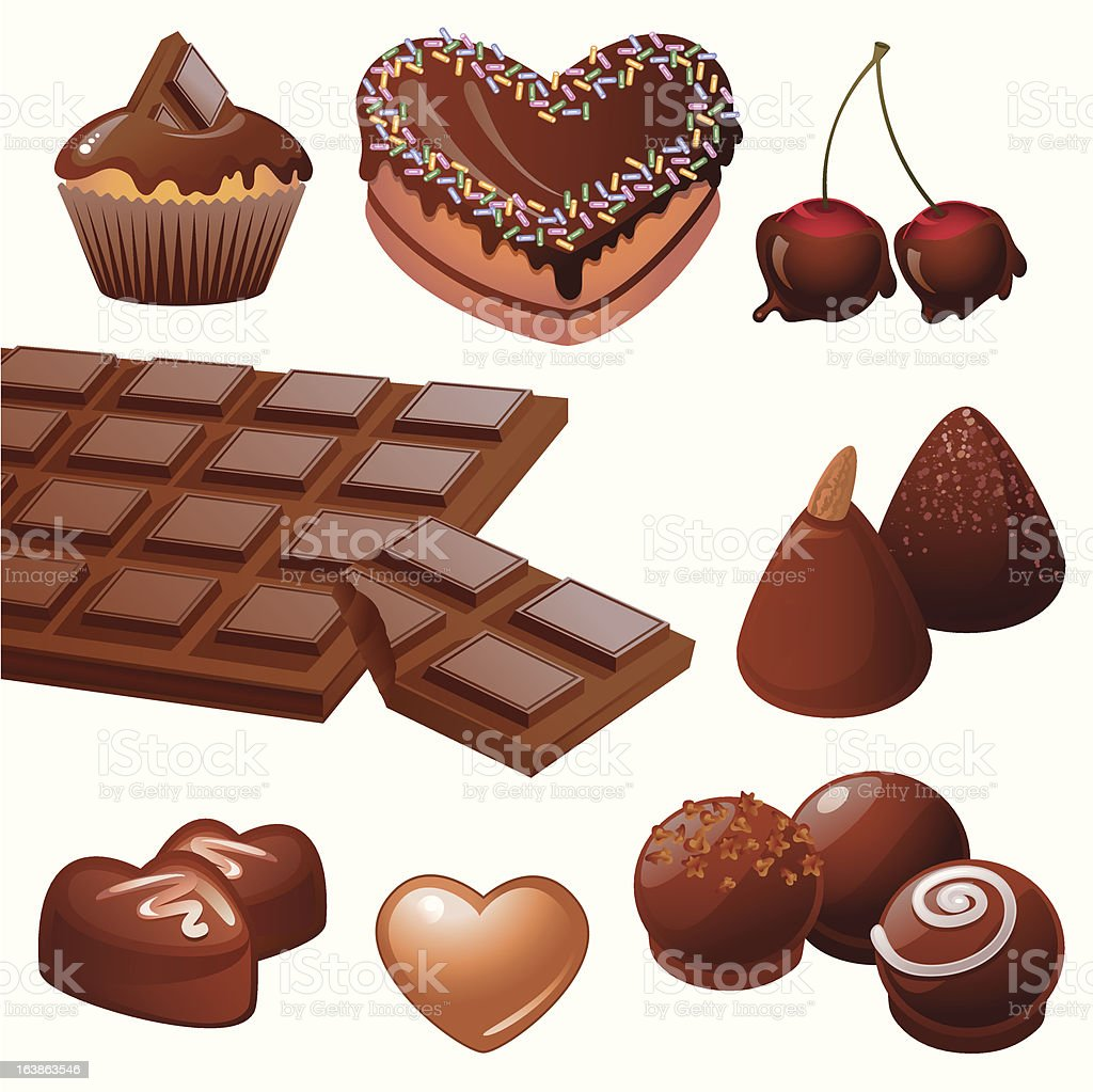 Chocolate desserts collection vector art illustration