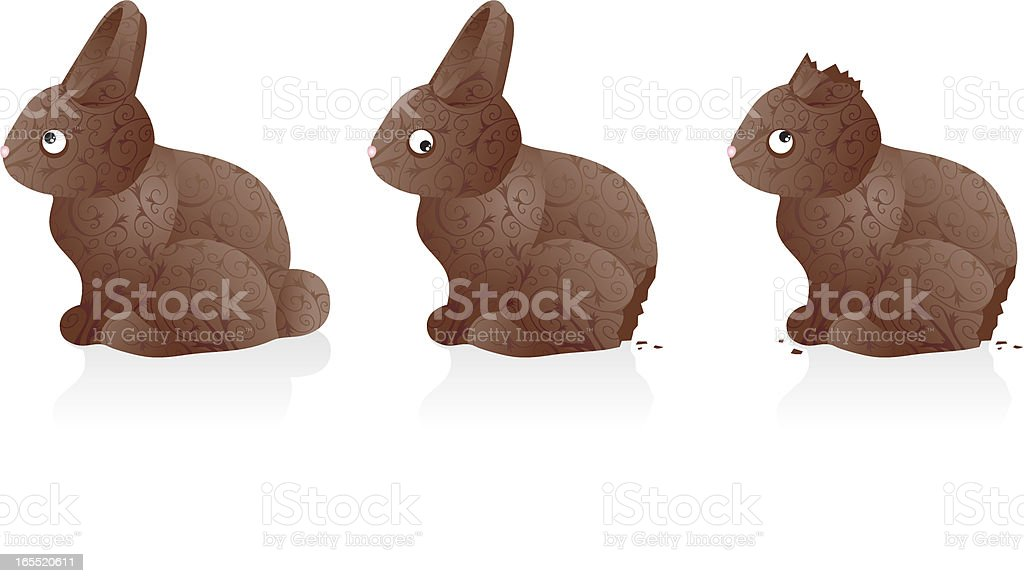 Chocolate Easter Bunnies royalty-free stock vector art