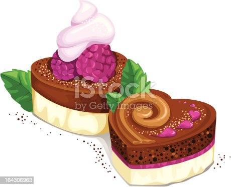 Illustration of two delicious chocolate cupcakes with berries.