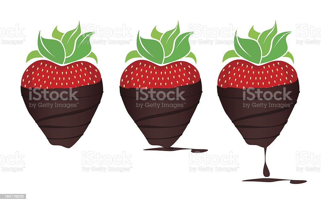 Chocolate-dipped Strawberries vector art illustration