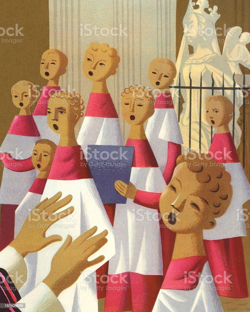 Choir Singing vector art illustration