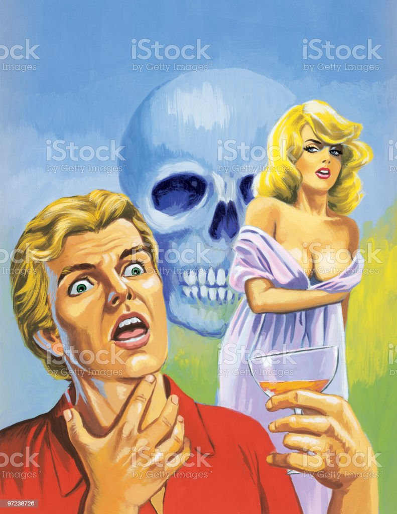 Choking Man, Blonde Woman and Skull royalty-free choking man blonde woman and skull stock vector art & more images of adult