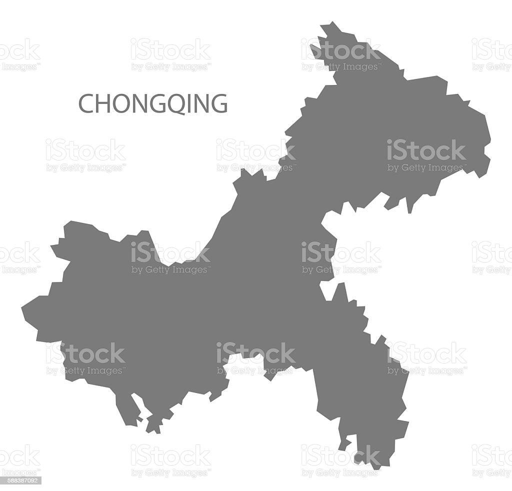 Chongqing China Map Grey Stock Vector Art More Images of China