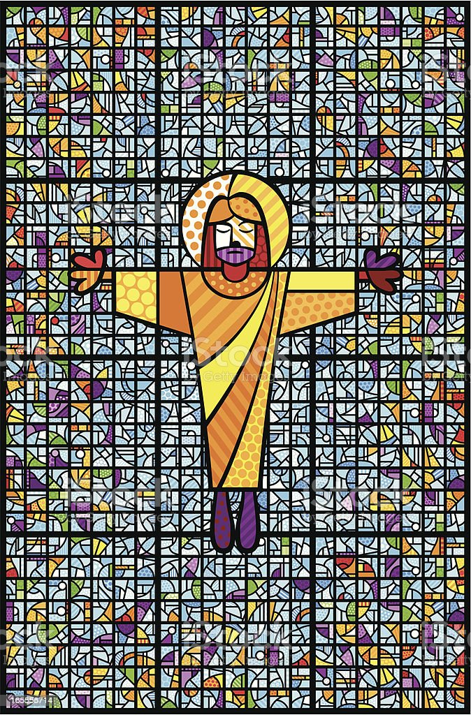 Christ And Stained Glass royalty-free stock vector art
