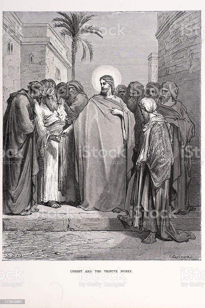 Christ and the tribute money royalty-free stock vector art