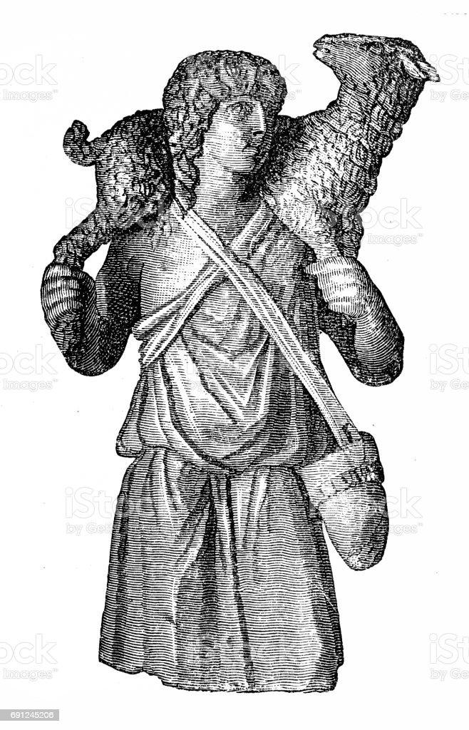 Christ as a good shepherd vector art illustration