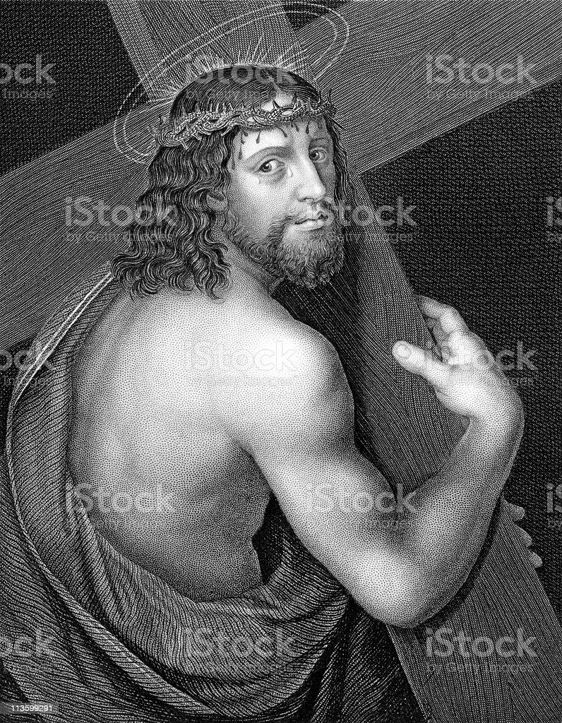 Christ Bearing the Cross royalty-free stock vector art