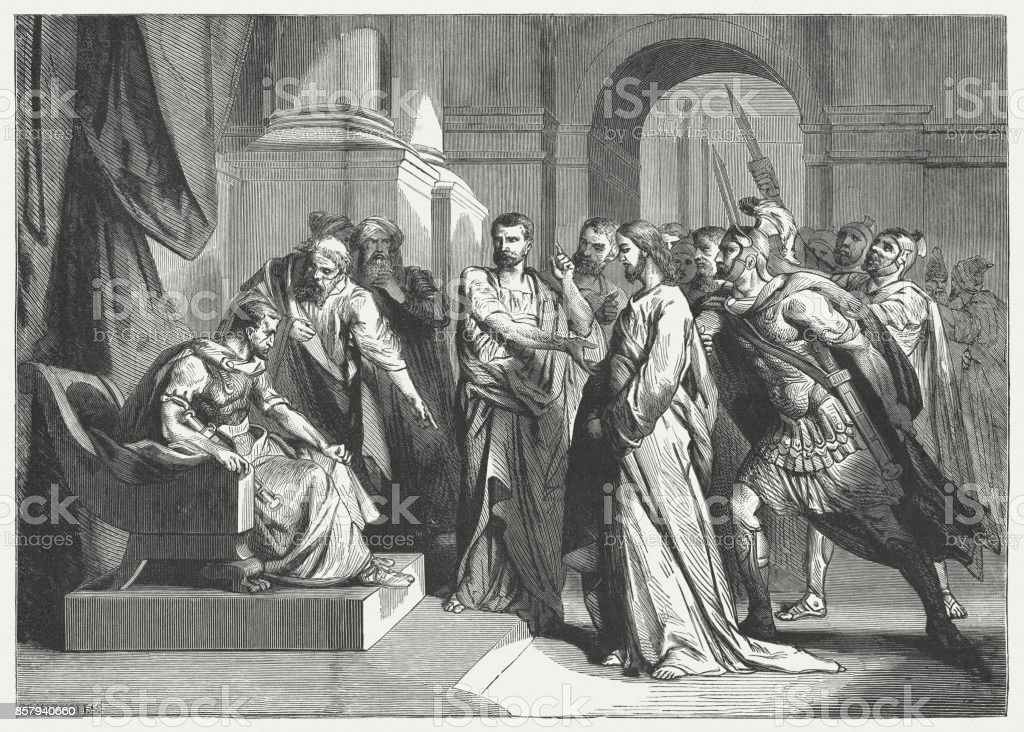 Christ before Pilate (Mark 15), wood engraving, published in 1886 vector art illustration