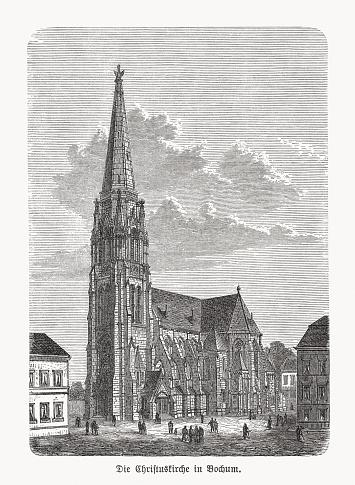 Christ Church, Bochum, North Rhine-Westphalia, Germany, wood engraving, published 1893