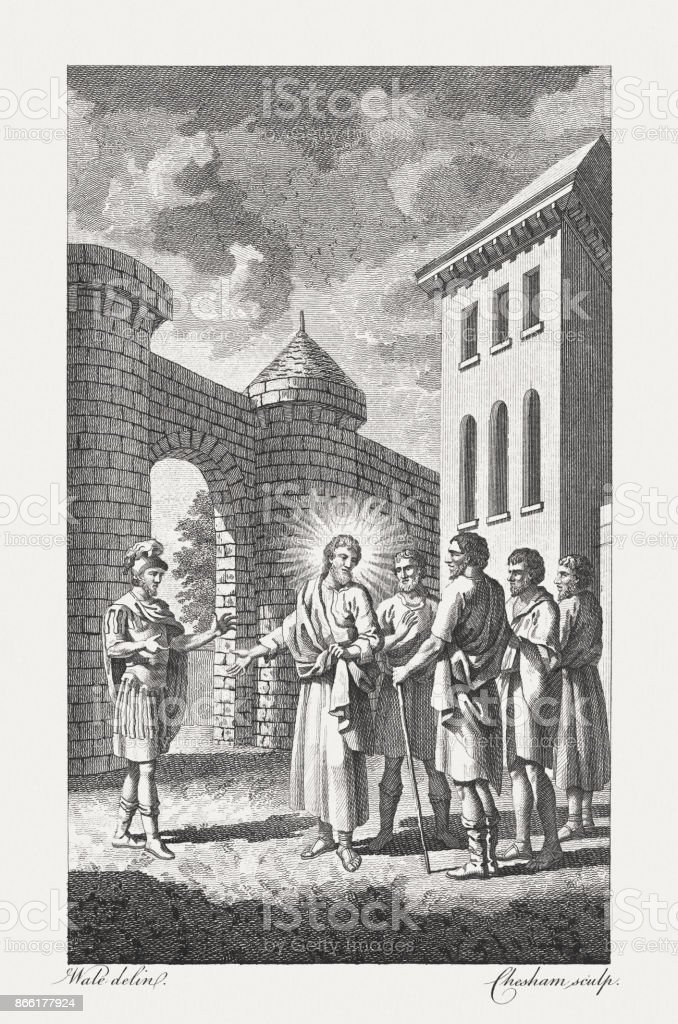 Christ healing the Centurion's Servant (Matthew, 8, 5-13), published 1774 vector art illustration