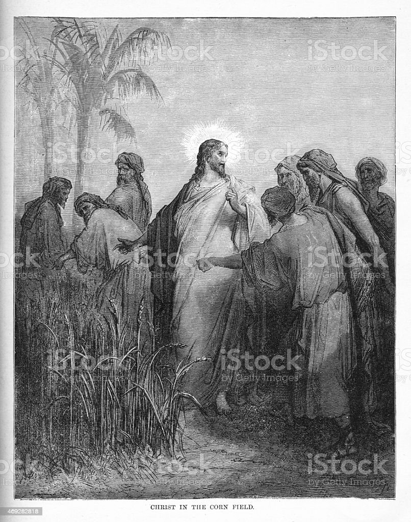 Christ in the Corn Field Engraving vector art illustration