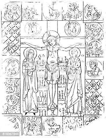 istock Christ on the cross, metal cutting from the year 1100 816367944
