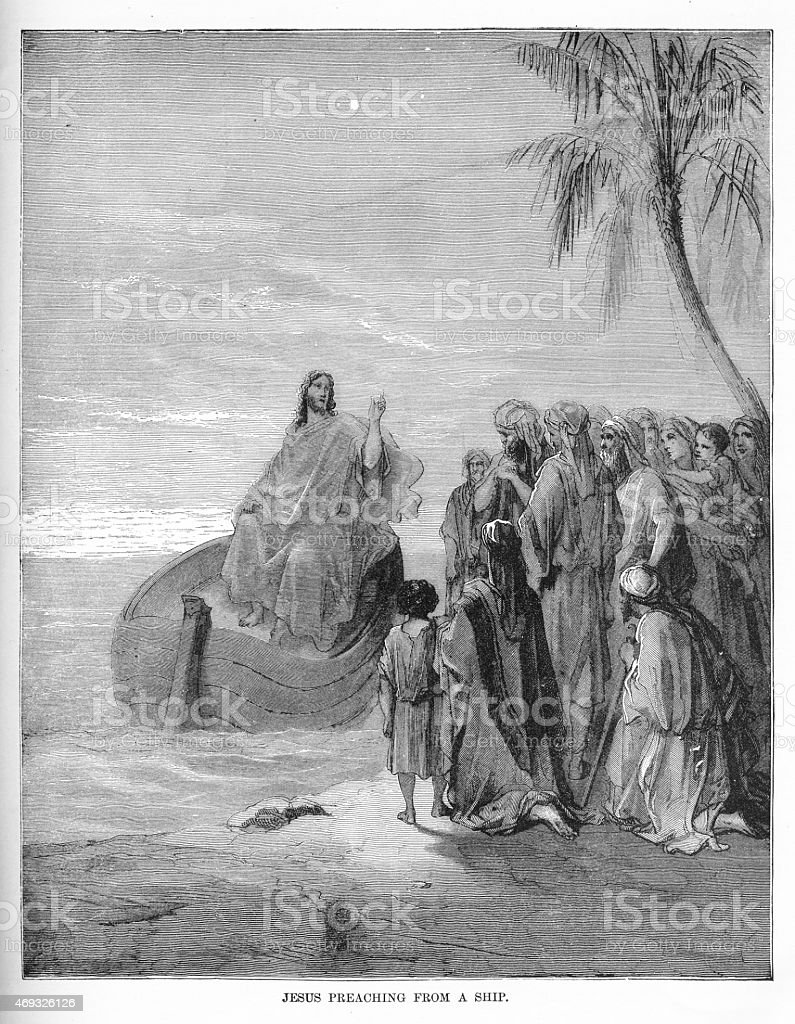 Christ Preaching from a Ship Engraving vector art illustration