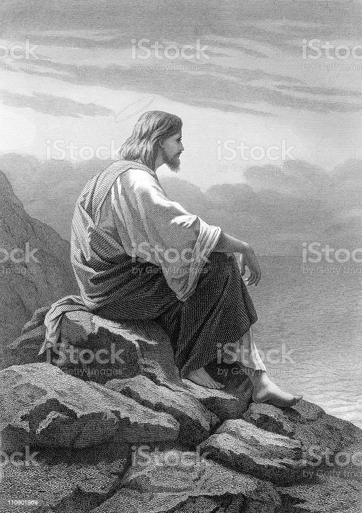 Christ Rests by the Sea vector art illustration