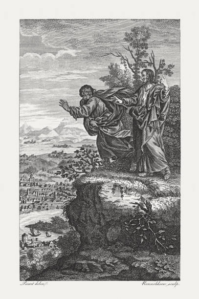 Christ tempted by the Devil (Matthew 4, 10), published 1774 vector art illustration