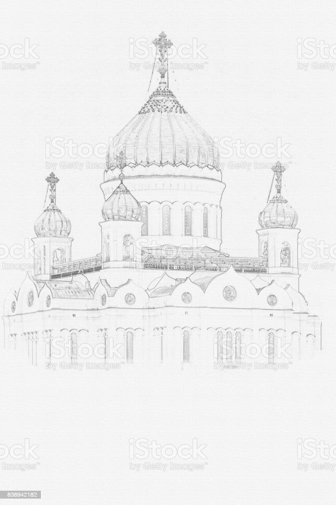 Christ the Savior Cathedral. Moscow. Russia. Painting on canvas. vector art illustration