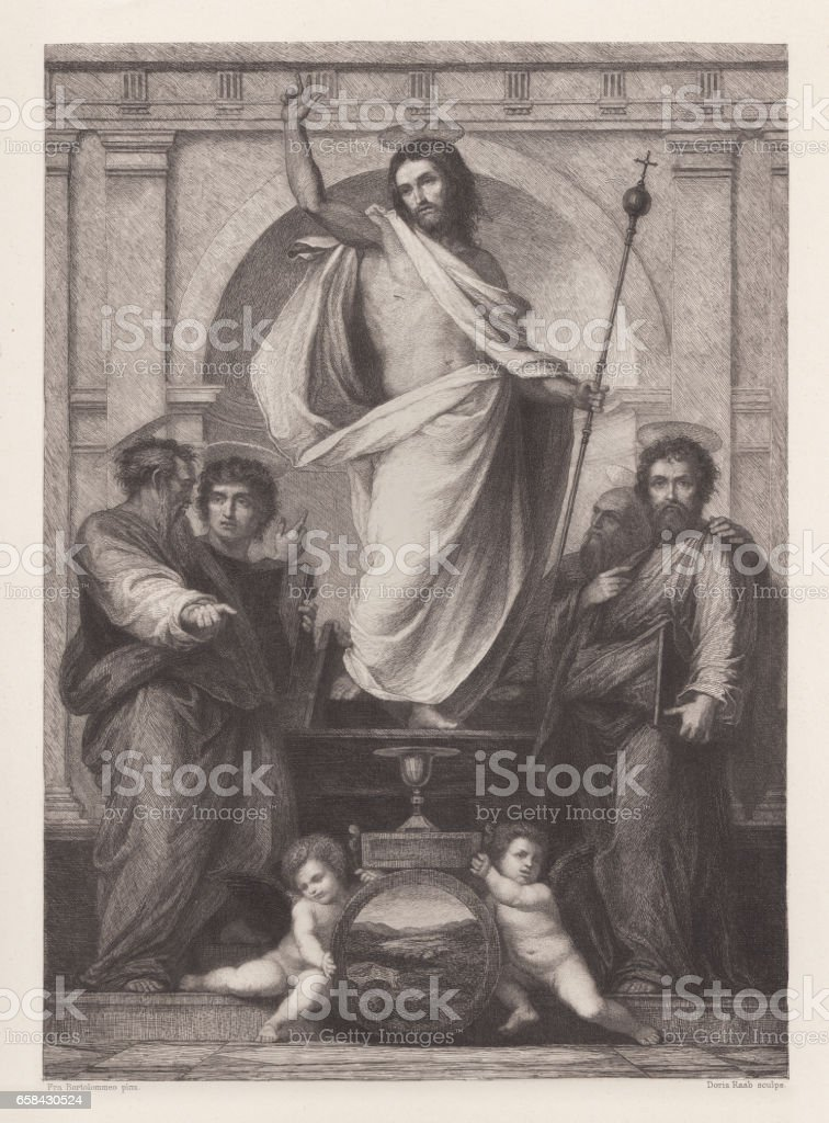 Christ with the Four Evangelists, painted (1516) by Fra Bartolomeo vector art illustration