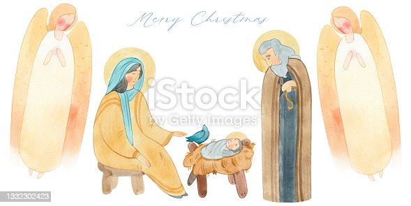 istock Christian Christmas border, postcard with Angels, Virgin Mary, baby Jesus Christ in a manger, Joseph. 1332302423