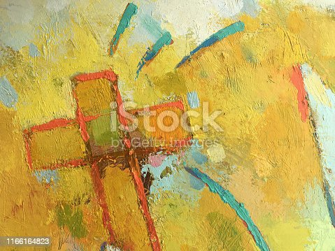 ellow painting background with Christian cross symbol. Abstract Catholic background. Light texture for Bible theme.