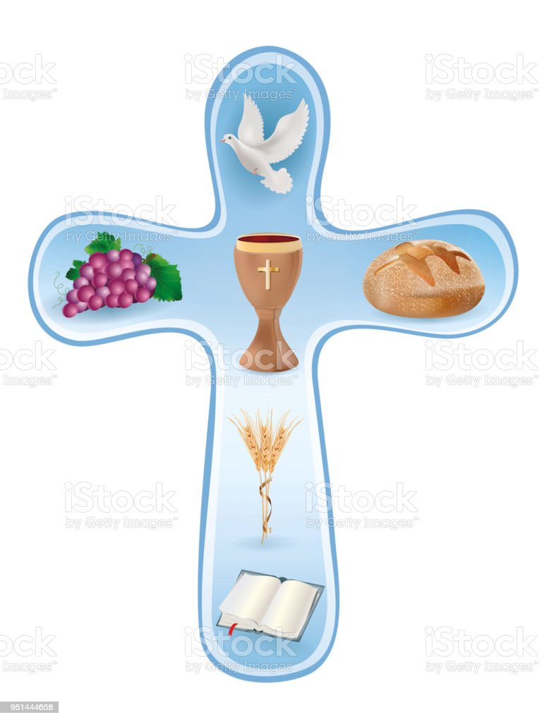 Christian Cross Symbols Wooden Chalice Grapes Bread Bible Dove