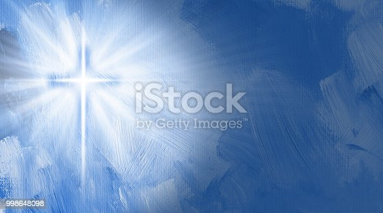 Graphic digital illustration of the Cross of Jesus with rays of light and inner glow.  Conceptual composition includes hand painted textured brush strokes. For Christian themed background or featured art.