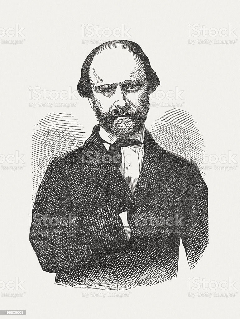Christian Friedrich Hebbel (1813-1863), German dramatist, wood engraving, published 1870 royalty-free stock vector art