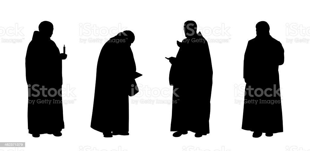 christian monjes siluetas de - ilustración de arte vectorial